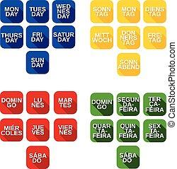semana, jogo, ícones, cor, dias, vetorial, títulos, quadrado