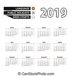 semana, portugués, comienzos, idioma, 2019, sunday., calendario