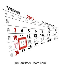 semana, setembro, começa, 18, destacado, calendar., sunday., 2017