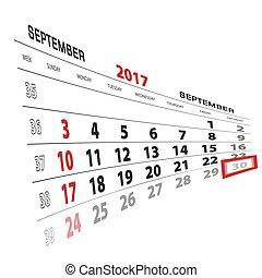 semana, setembro, começa, destacado, calendar., 30, sunday., 2017