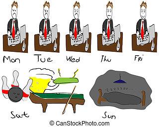 semana, trabajando
