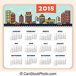 semana, year., 2018, domingo, calendario, comienzos