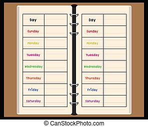 semanalmente, cuaderno, negro, planificador