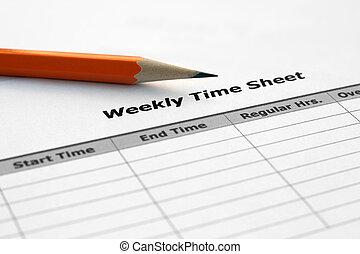 semanalmente, hoja, tiempo
