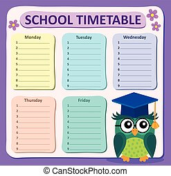 semanalmente, horario, escuela