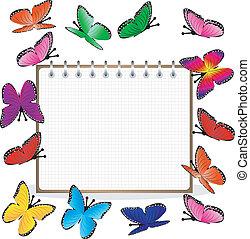 semanalmente, y, brillante, mariposas