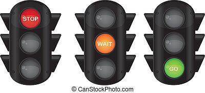 semaphore - three semaphore with stop, wait and go text...