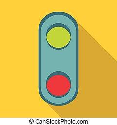 Semaphore traffic light icon, flat style