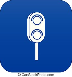 Semaphore trafficlight icon digital blue for any design ...