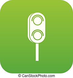 Semaphore trafficlight icon digital green for any design ...