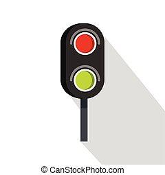Semaphore trafficlight icon, flat style