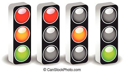 (semaphores), aislado, luces, lámparas, white., vector., ...