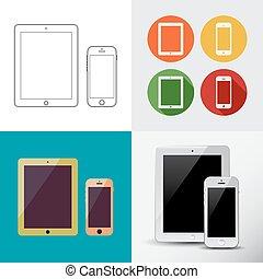 semblable, téléphone, intelligent, dessin, smartphone., contour, ipad, tablette