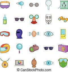 Semblance icons set, cartoon style - Semblance icons set....