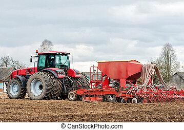 semear, plantar, trabalhando, primavera, tempo, Colheitas, campo, agricultor, trator