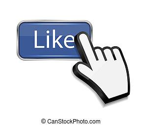 semelhante, botão, ilustração, mão, cursor, vetorial, rato
