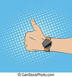 semelhante, cima, mostrando, relógio, gesture., mão, polegares