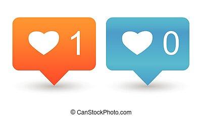 semelhante, contador, notificação, ícones