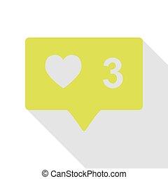 semelhante, e, comentário, sinal., pêra, ícone, com, apartamento, estilo, sombra, path.