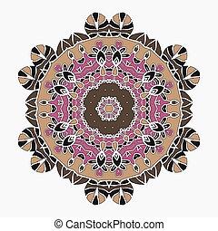 semelhante, luz, stylized, print., oriental, fundo, simétrico, mandala, renda