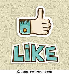 semelhante, polegar cima, ícone