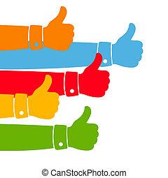 semelhante, polegares cima, illustration.