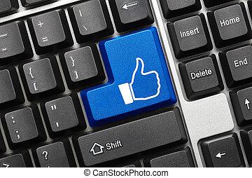 semelhante, símbolo, -, key), teclado, conceitual, (blue