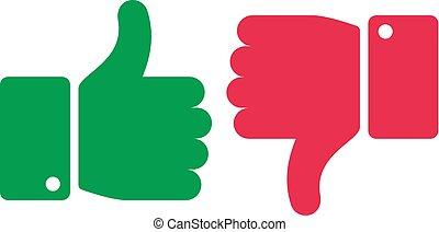 semelhante, unlike, buttons., polegares cima, e, baixo, isolado, icons., sim, e, não, dedos, positivo, negativo, marcas, vetorial, símbolos