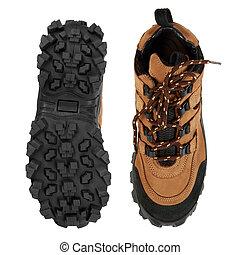 semelle, dur, chaussures, randonnée