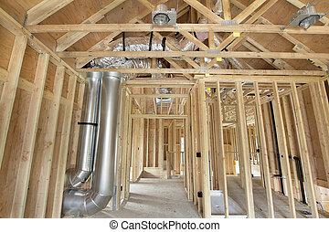 sementales, madera, encuadrado, construcción, nuevo hogar