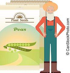 sementes, ervilhas, pacote, ícone