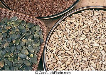 sementes, flix, girassol, abóbora