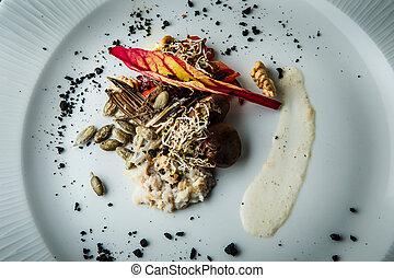 sementes, nozes, salada, trigo, brotos, vista, closeup, ...