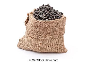 sementes, saco burlap, girassol