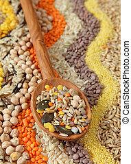 sementes, vário, grãos