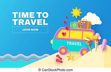 semester, concept., bil., journey., papercraft, sommar, ...