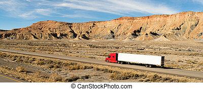 semi, 18 wheeler, tirón largo, camión, remolque, aparejo ...
