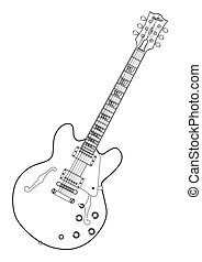 Semi Acoustic Line Drawing - A semi acoustic type guitar in...