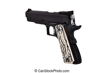 Semi Auto Gun - Semi Auto handgun on a white background
