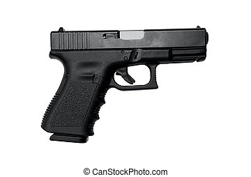 Semi Auto Handgun with clipping path - Image of a high...