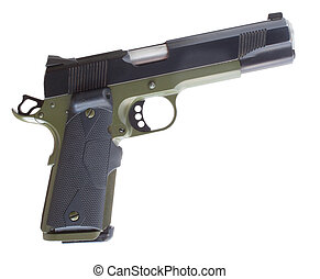 Semi auto pistol - Isolated semi automatic handgun that has...