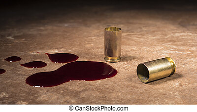 Semi auto pistol shells on the floor with blood - Blood next...