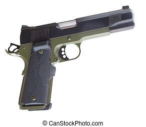 Semi auto pistol - Isolated semi automatic handgun that has...