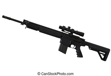 Semi auto rifle - Assault rifle with a scope that is...