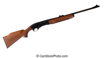 Semi auto - Rifle that is semi automatic with a wood stock...