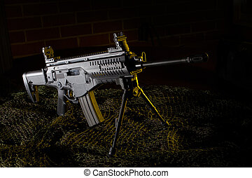 Semi auto rifle with yellow gels - Modern semi automatic...