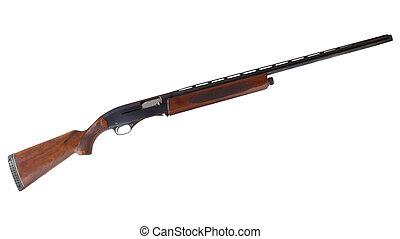 Semi auto shotgun - Wood stocked semi automatic shotgun that...