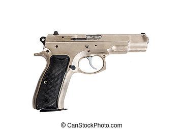 Semi-automatic gun isolated on white background