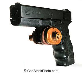 Semi-automatic handgun with trigger lock installed
