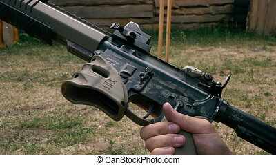 Semi-automatic rifle. Preparing weapons for shooting